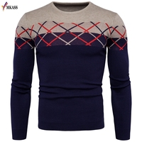 MKASS Brand New Fashion Clothing Men Knitted Sweater O Neck Slim Fit Pullover Men Striped Sweaters For Men M 2XL