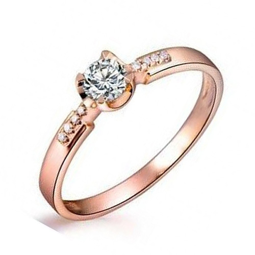 Fashion Female Ring Top Sale Unique Beautiful Rose Gold Color Plated With White CZ Rings For Women