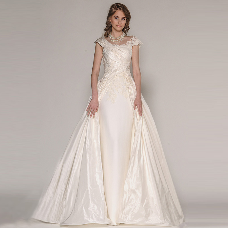 Wedding Gowns With Cap Sleeves: Top Brand Satin Princess Wedding Dresses 2016 Appliques