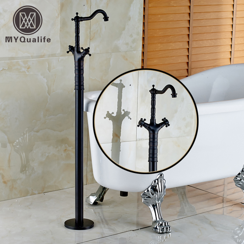 Oil Rubbed Bronze Dual Cross Handles Floor Mount Bathroom Bathtub Faucet Freestanding Clawfoot Tub Filler Mixer Taps oil rubbed bronze waterfall tub mixer faucet free standing floor mount bathtub faucet with handshower