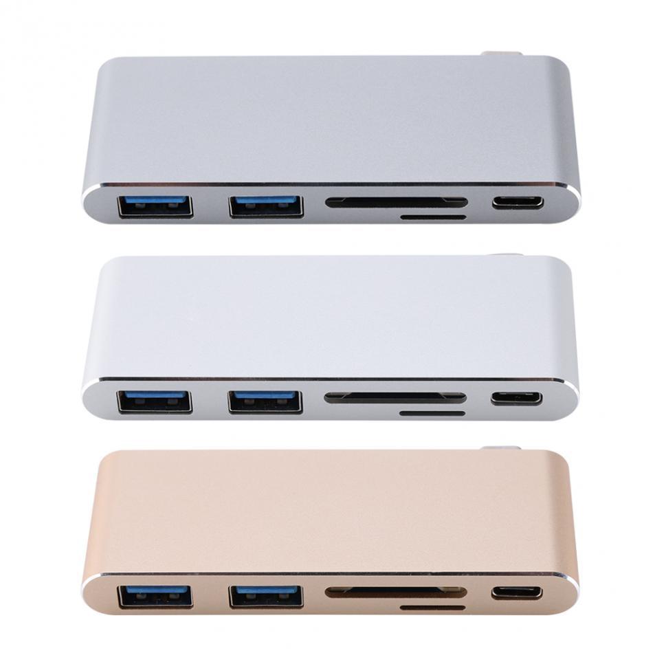 USB-C 3.1 Multi-port Hub Adaptateur Avec 2 USB 3.0 Ports Type-C Moyeux PD SD/TF Lecteur de carte Pour Macbook