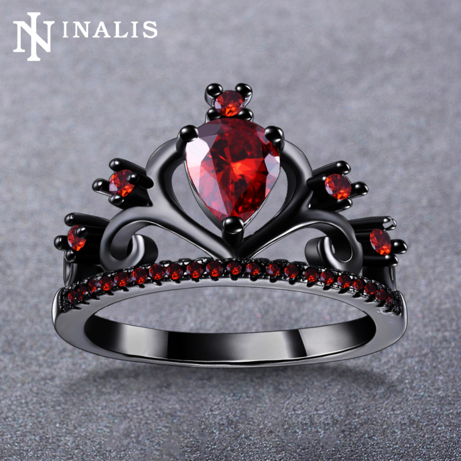 Inalis Vintage Design 4 Colors Pear Cut Cz Stone Crown Ring Black Gold  Color Party Costume Jewelry Rings For Women Anel Feminino