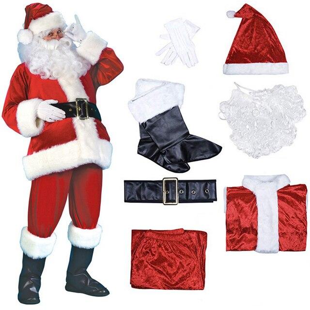 7pcs Costume di Babbo natale Cappello Di Natale Babbo natale Cosplay Insieme Del Vestito + Hat + Barba + Top + Pantaloni + cintura + Guanti + Stivali di Pelle