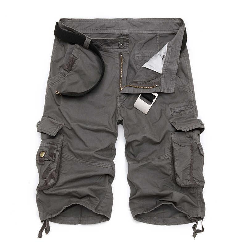 Мужские шорты-карго в стиле милитари, новинка 2019, армейские камуфляжные тактические шорты, мужские хлопковые свободные рабочие повседневные короткие штаны, большие размеры