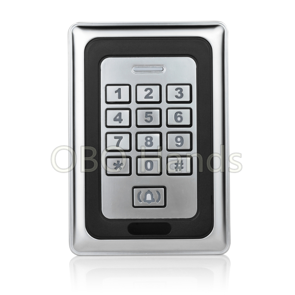 Electric door lock keypad rfid key fob reader RFID card reader metal keypad Security-K88 silver metal rfid em card reader ip68 waterproof metal standalone door lock access control system with keypad 2000 card users capacity