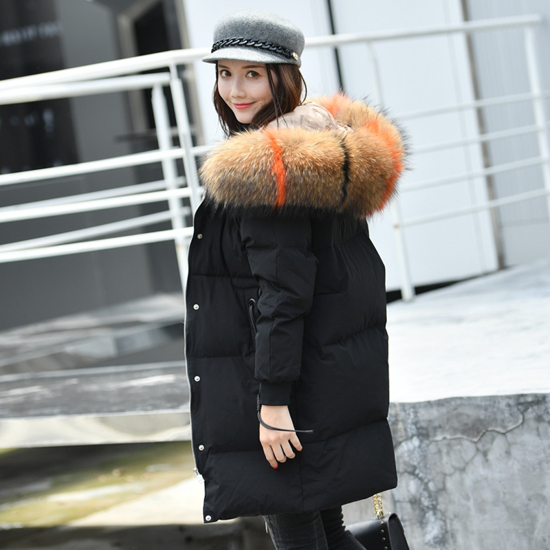90% White Duck Down Coat Female 2018 Winter Jacket Women 100% Large Real Raccoon Fur Collar Hooded Thick Parka Plus Size 5XL