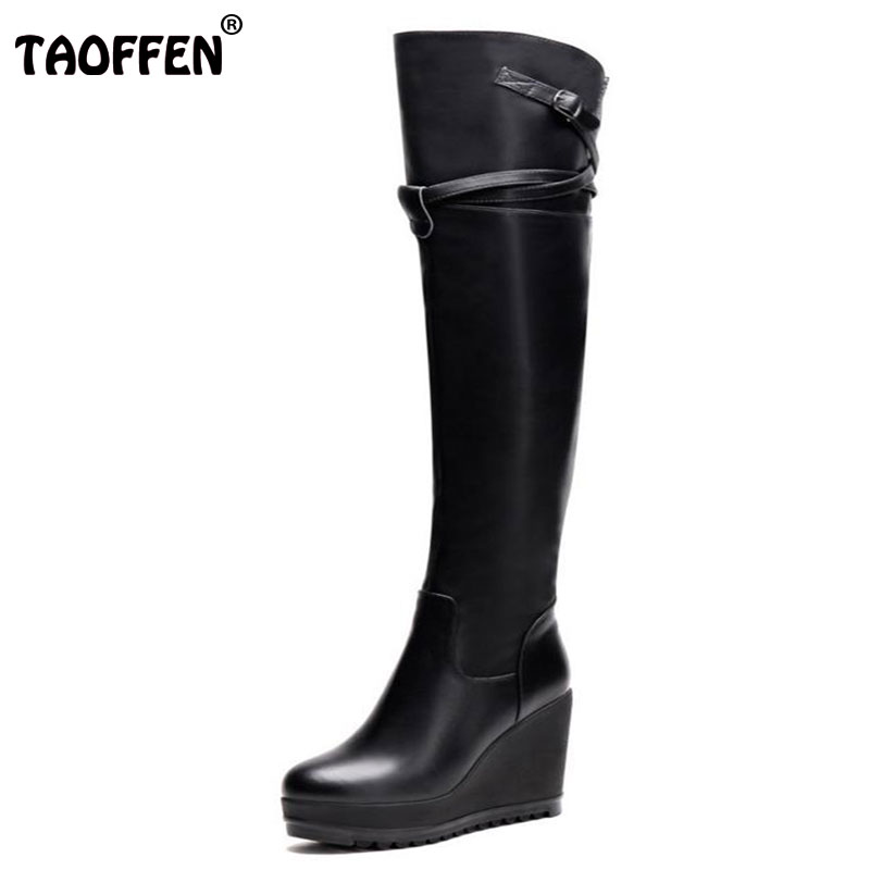 TAOFFEN women real genuine leather wedge over knee boots platform long boot winter warm botas footwear shoes R7524 size 34-39 pritivimin fn81 winter warm women real wool fur lined shoes ladies genuine leather high boot girl fashion over the knee boots