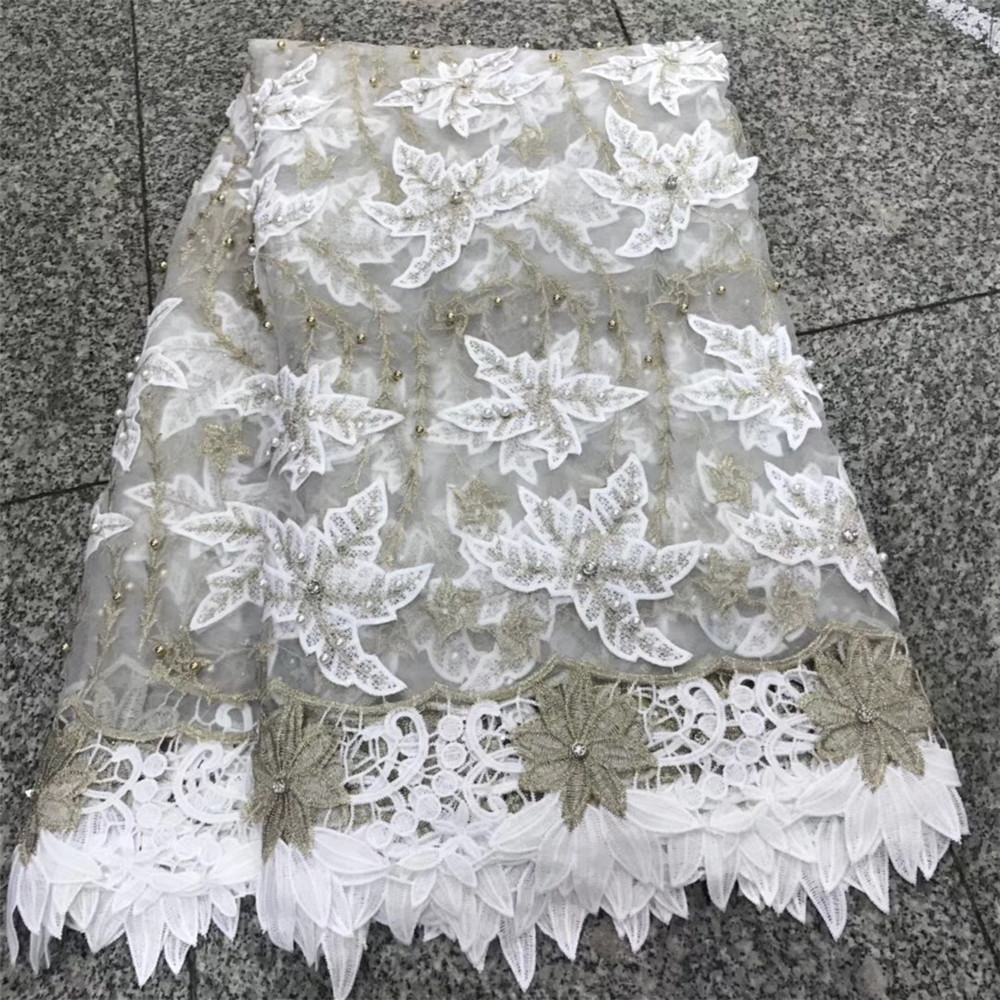 3d flower New arrival african embroidered lace fabrics high quality white guipure lace fabric for weddding HJ146-2  3d flower New arrival african embroidered lace fabrics high quality white guipure lace fabric for weddding HJ146-2