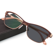 Overgang Fotochrome Vrouwen Leesbril Optische Bijziendheid Verziendheid Custom Sterkte + Rx Rx Metalen Frame UV400 Zonnebril
