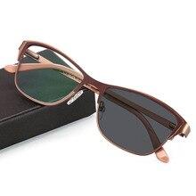 מעבר Photochromic נשים משקפי קריאה אופטית קוצר ראייה רוחק Custom חוזק + Rx Rx מתכת מסגרת UV400 משקפי שמש