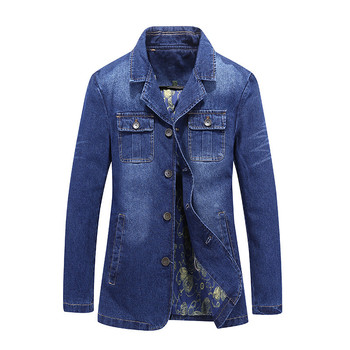 New Mens Denim Blazer Fashion Slim Fit Casual Jeans Jackets And Coats Long Jean Suits For Man Multi Pockets big Size M-4XL