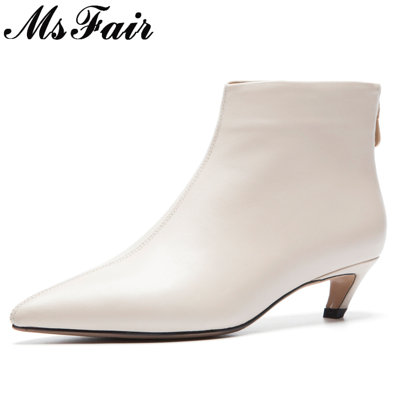 цена на MsFair Pointed Toe Thin Heels Women Boots Genuine Leather Zipper Ankle Boots Women Shoes Winter Elegant Ankle Boots Shoes Woman