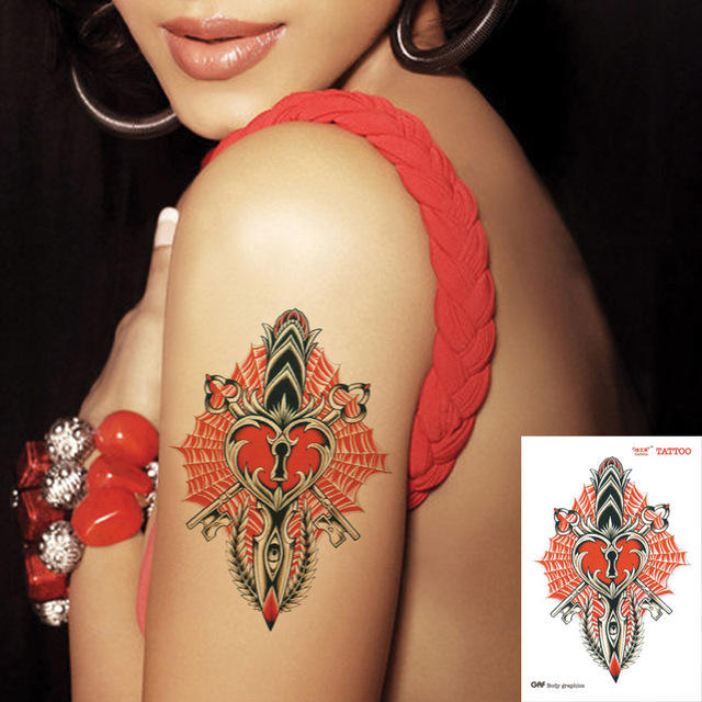 bb8014d2a Large temporary tattoo stickers waterproof high quality sexy products - women  heart lock key love faith designs arm fake tattoo