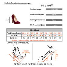 Pumps Women Shoes Red Flock Slip-On Shallow Wedding Party Pointed Toe High Heels Pump Chaussures