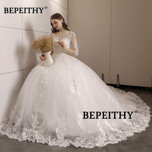 Vestido De Novia Three Quarter Sleeves Lace Wedding Dress 2021 Open Back Vintage Bridal Dresses Ball Gown Hot Sale 3