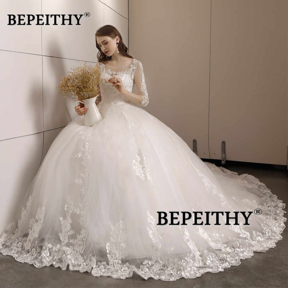 4a057fa4b295 ... Vestido De Novia Three Quarter Sleeves Lace Wedding Dress 2019 Open  Back Vintage Bridal Dresses Ball ...