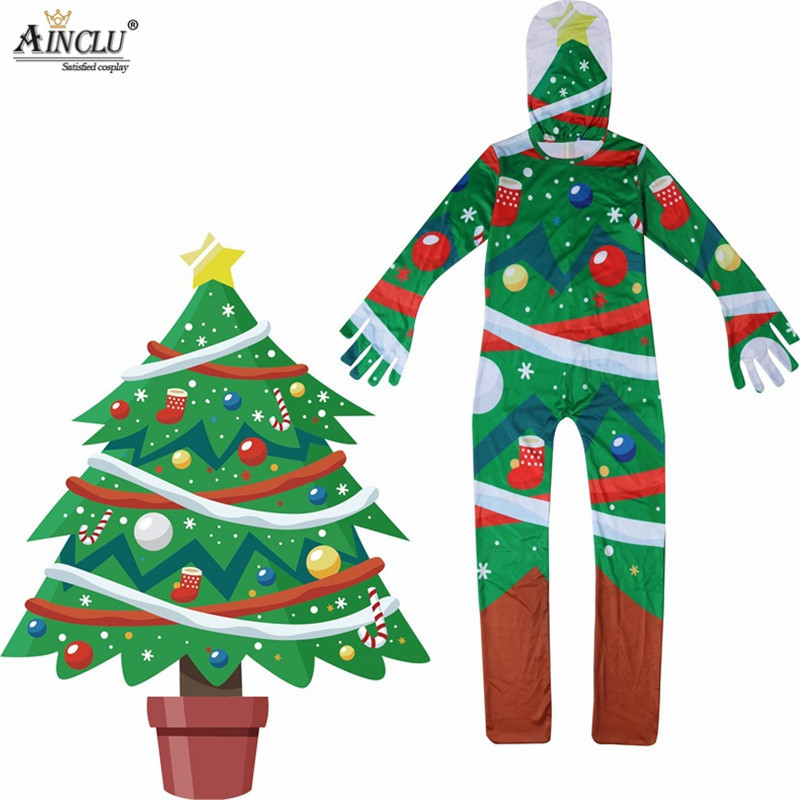 Ainclu 7-15Y Kids Children Christmas Tree Cosplay Costume Ice Silk Zentai Bodysuit Suit Jumpsuits for Boys Girls Christmas Suits