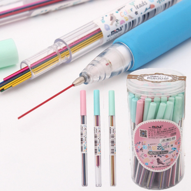 1box 0.5mm Colored Mechanical Pencil Refill Lead Erasable Student Stationary VN