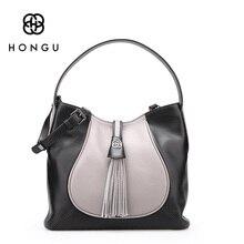 HONGU Trendy Women's Handbag 100% Genuine Leather Business Tassel Tote Ladies Shoulder Hobos Messenger Bag Travel Crossbody Bags