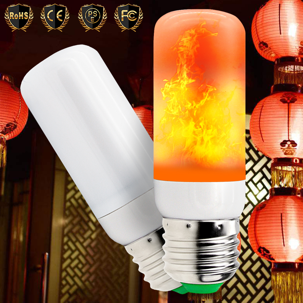 LED Flame Effect Light Bulb E27 Led Lamp 3W Flickering Emulation Fire 220V e27 2835 SMD Creative