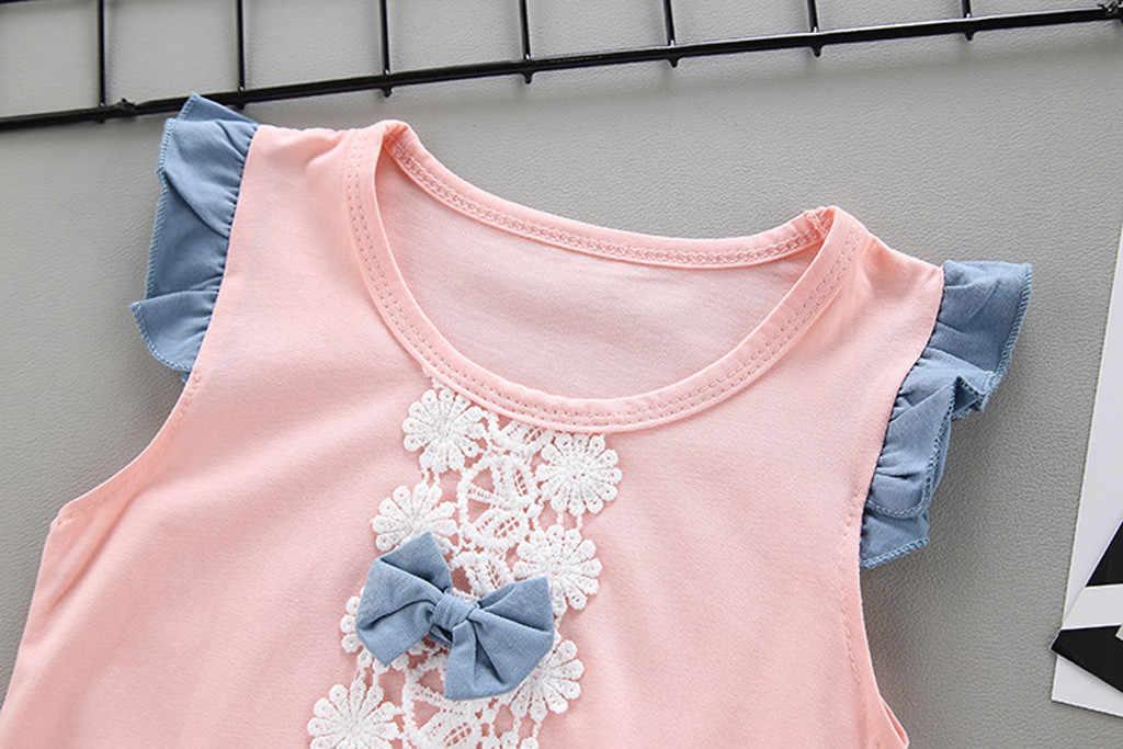 เด็กวัยหัดเดินเด็กทารกเด็กหญิงลูกไม้ดอกไม้ Bowknot เสื้อ + กางเกงขาสั้นกางเกง 2 ชิ้นชุดเด็กเสื้อผ้าชุด 1-5 ปีชุดวันเกิด