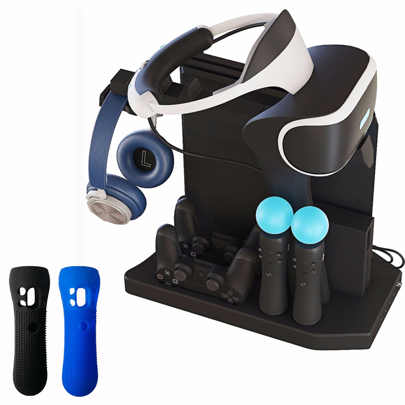 For PS4 VR PS4 Pro Slim PSVR PS4 Vertical Stand,Cooling Fan Cooler,Controller Charger and Hub Charging Display Stand Showcase цена и фото
