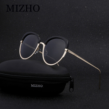 MIZHO Brand Future Copper Metal Polarized Sunglasses Women Cat eye Mirror PINK UV400 Oval Eyewear Woman Sun Glasses Clear Visual