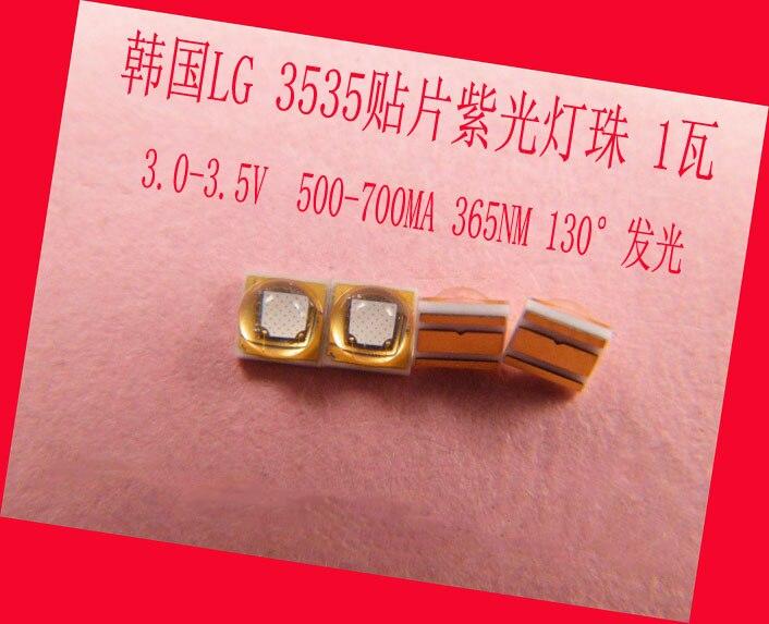 Стерилизации Фиолетовый светодиодные лампы Бусины УФ <font><b>LG</b></font> <font><b>3535</b></font> 365nm 3.0-3.5 В 500-700ma 130 градусов 1 Вт