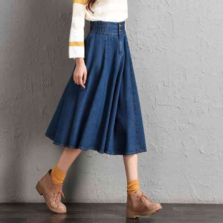 #0207 Elastic High Waist Denim Skirts Women A-line Plus Size 8XL Saias Jeans Feminina A-line Midi Skirts Women Spring 2020