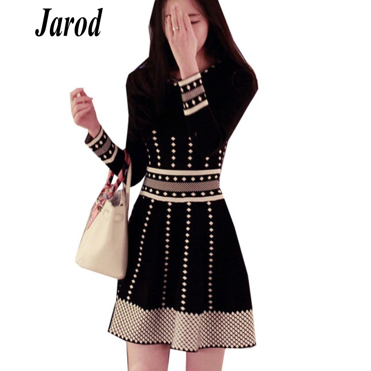 0de8056f Spring Autumn New Knitted Dress Women O-Neck Striped Plaid Knitting Ladies Winter  Dresses Casual