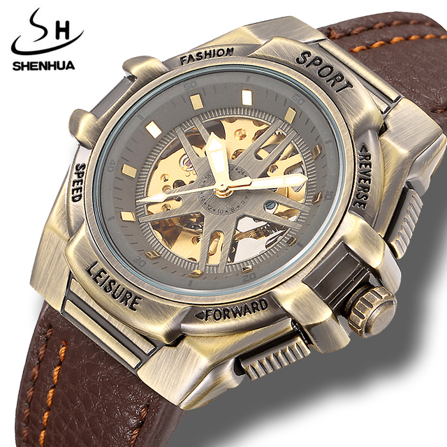 Bronze Automatic Skeleton Steampunk Watch Men Shenhua Mechanical Sport Wrist Watches Retro PU Leather Wristwatch Clock for Man