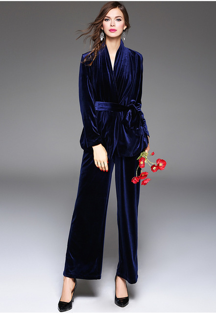 AS056 Sexy  V NECK long sleeved suit jacket  AND waist casual wide leg pants SETS FASHION HIGH QUALITY VELVET