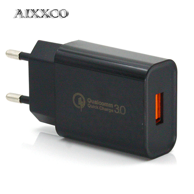 AIXXCO 18W Quick Charge 3.0 Fast Mobile Phone Charger EU Plug Wall One USB Charger Adapter for iPhone Samsung Xiaomi Huawei
