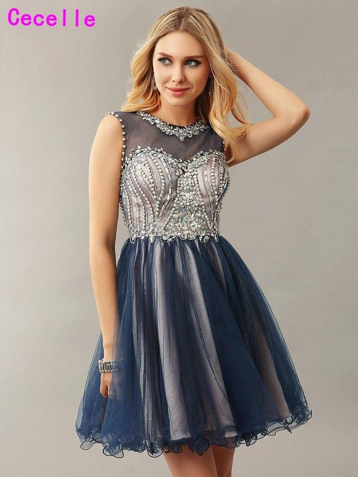 Navy Blue Beaded Crystals Short Informal Juniors Cocktail Dresses 2019 For Teens Elegant Open Back A-line Girl Robe De Cocktail