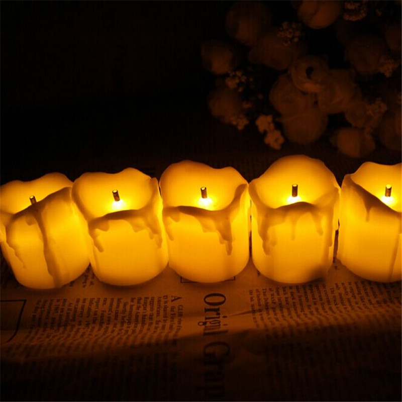 set of 6 timing function amber yellow flicker battery operated candles tea light candles with timer