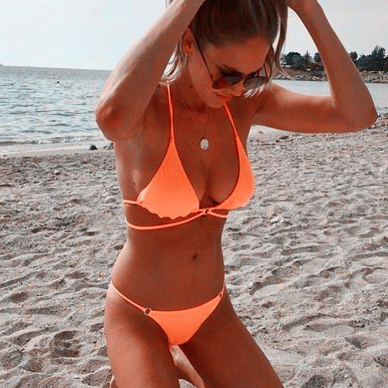Bright Orange Classic Triangle Bikini with Brazilian Style Bikini Bottom