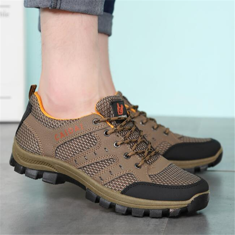 Breathable Mesh Men's Work Shoes 2018 Outdoor Non-slip Wear-resistant Sneakers Men Lace Up Up Travel Shoes Chaussures De Travail lace mesh sheer slip babydoll