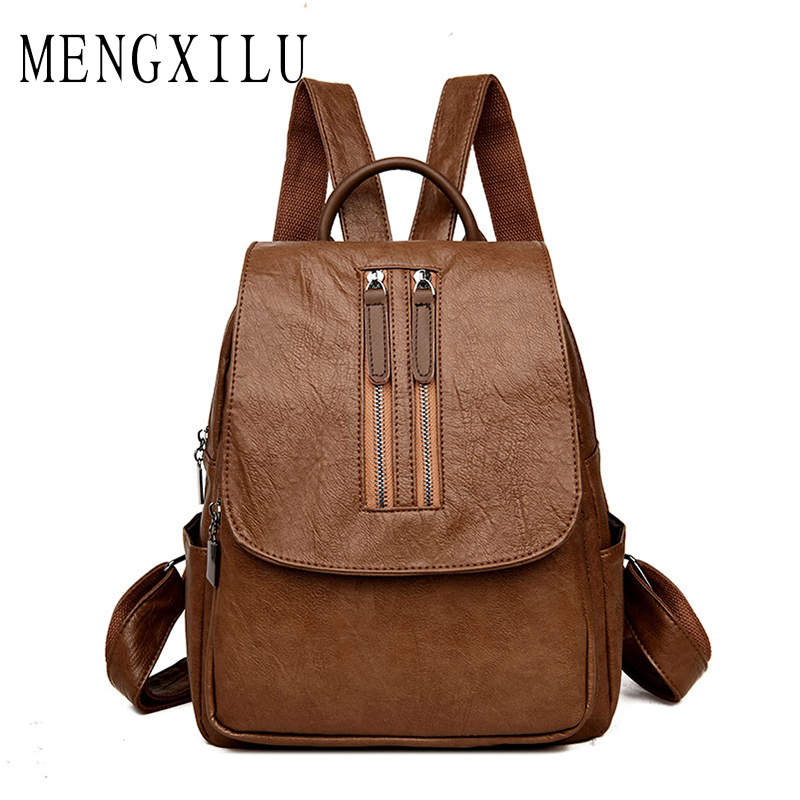MENGXILU Vintage Backpack Women Backpack High Quality Pu Leather Backpacks For Teenage Girls Schoolbag Backpack Double Zipper