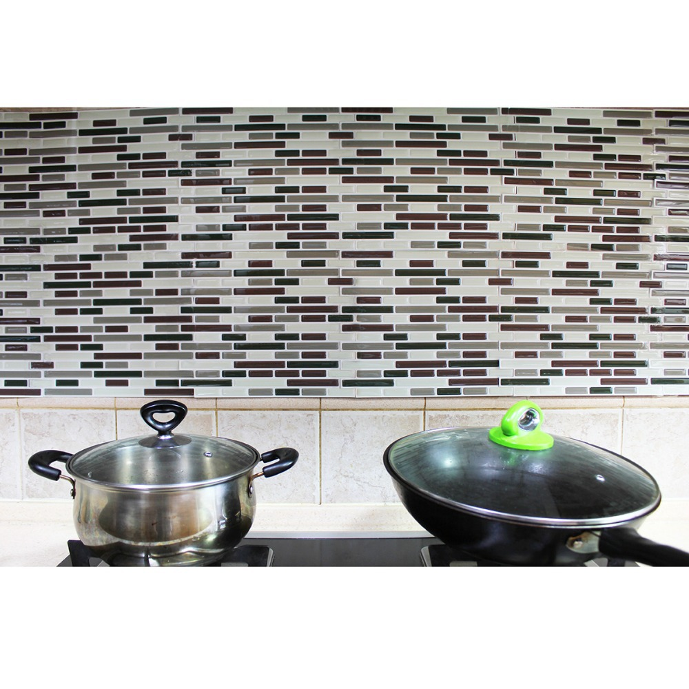 Fancy fix Vinyl Peel and Stick Decorative Backsplash Kitchen Tile ...