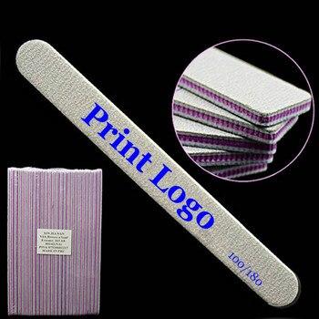 Wholesale Free Print Logo 5000pcs EVA Manicure Buffer 100/180 Curved Crescent Suquare Nail File Nail Buffer Polish Grinding Tool