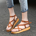 2017 Plus Size35-43 2017 NEW LOOK Gladiator Sandals For Women Cross-tied Trifle Flats Casual Sandals Women Shoe 66611W