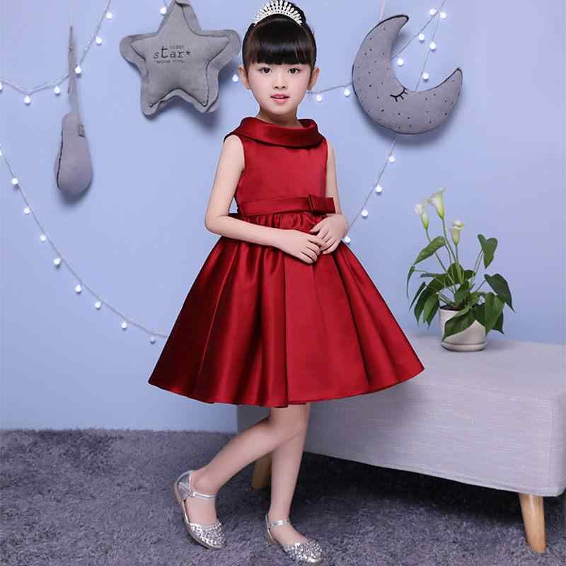 dd44f7d7a7f 2019 Kids Girl Bowknot Princess Party Prom Ball Gown Teen Girl Pleated  Solid Wedding Vestido Children