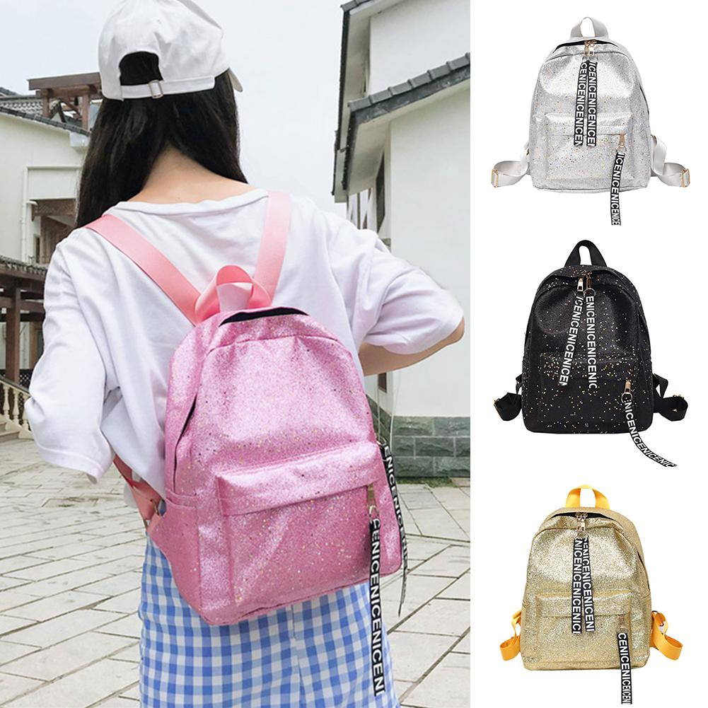 Fashion Sequins Letters Faux Leather Women Student Girls Travel Casual School BackpackFashion Sequins Letters Faux Leather Women Student Girls Travel Casual School Backpack