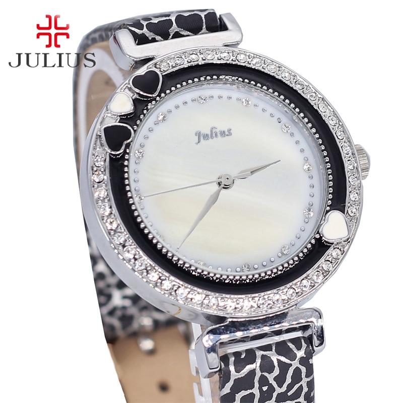 ФОТО Julius Women's Watch Japan Quartz Hours Clock Fashion Dress Bracelet Leather Rhinestone Shell Girl Christmas Gift Box 575