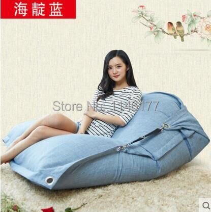 Sea light Color Beanbag beanbag chair folding simple cotton Double beanbag sofa bed tatami bed computer Ywxuege no filler