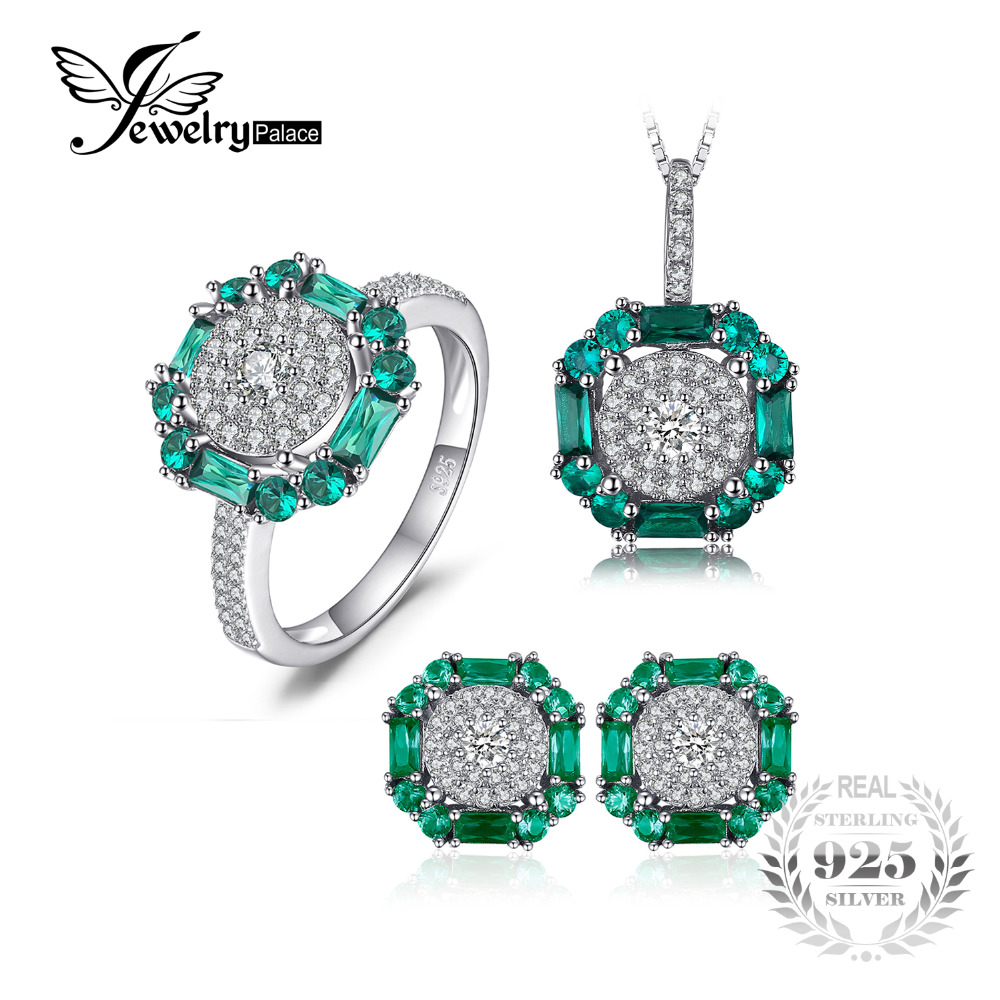 JewelryPalace Nano Russian Simulated Emerald Birthstone Pendant Necklace Ring Stud Earrings Jewelry Sets 925 Sterling Silver jewelrypalace 2 55ct natural lemon quartz halo ring stud earrings pendant neckalce chain 45cm 925 sterling silver jewelry sets