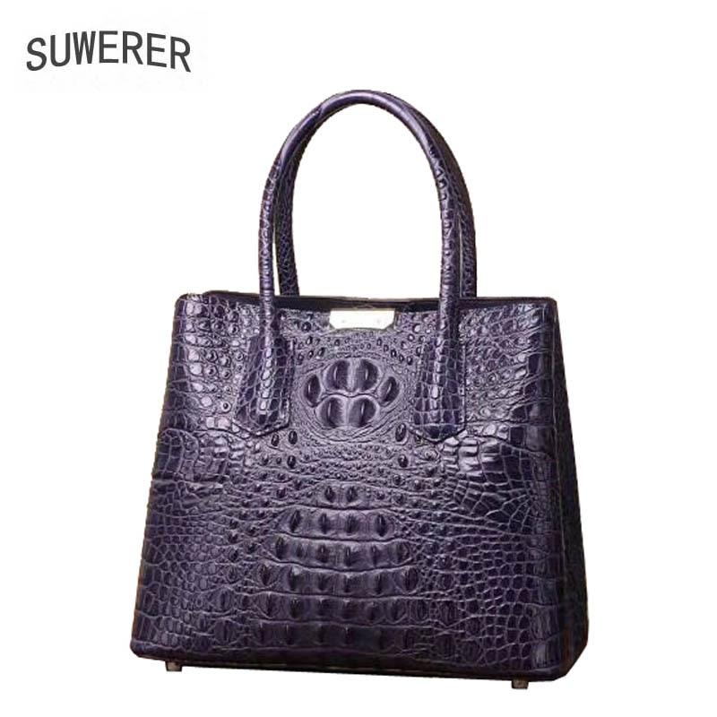 все цены на SUWERER 2018 New Women Genuine Leather bags Fashion luxury Crocodile pattern handbags designer women tote leather handbag онлайн