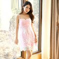 Hot Summer Women's Sleepshirts Gown Dress Women Lace accessory Pink Nightgown Sexy Sleeping Dresses Women's Fashion Sleepwear