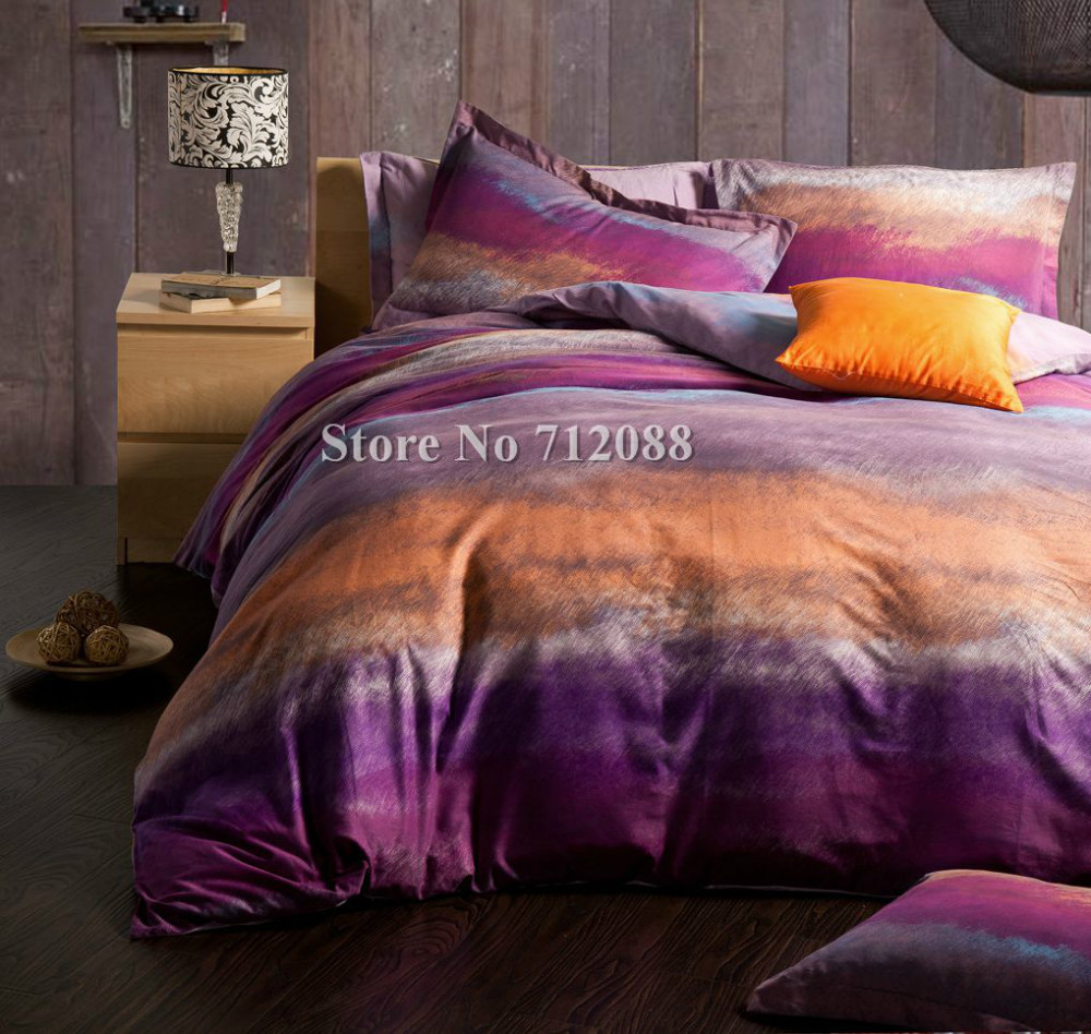 Whole Purple Orange Modern Pattern Bed Sheets Linens 4pcs Queen King Comforter Bedding Sets Cotton Quilt Duvet Covers In From Home Garden
