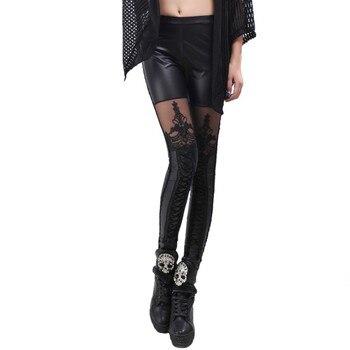 Sexy mode Pu-leder Legging Punk Gothic Leggings Frauen Stitching Stickerei Hohle Spitze Schwarz Legging Für Frauen 2018 Sommer